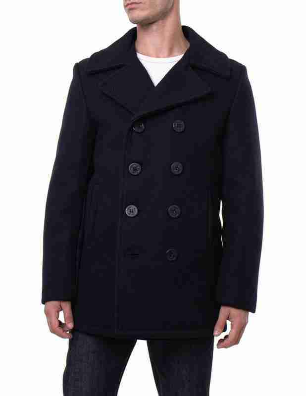 Classic melton wool men's navy pea coat - front