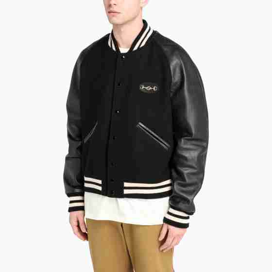 Black varsity jacket with leather sleeves for men