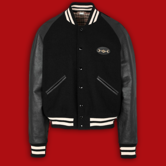 Men's black varsity jacket with leather sleeves - front
