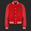 Red varsity jacket with leather sleeves worn by Lil Baby - front