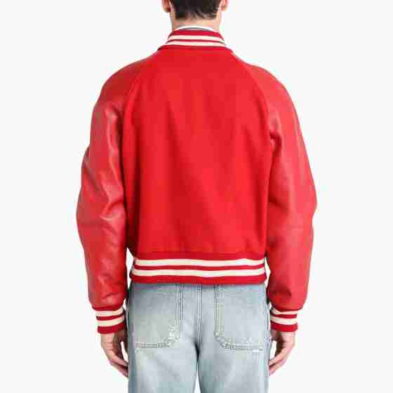 Red varsity leather sleeves jacket - back