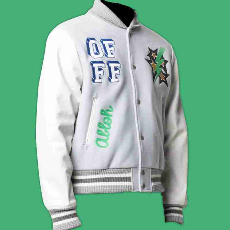 Lil Durk's white bomber jacket with raised patches and printed design