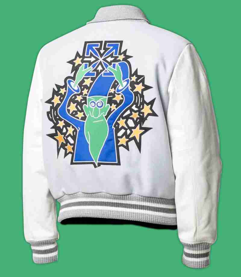 Ba ck of Lil Durk's white bomber printed jacket