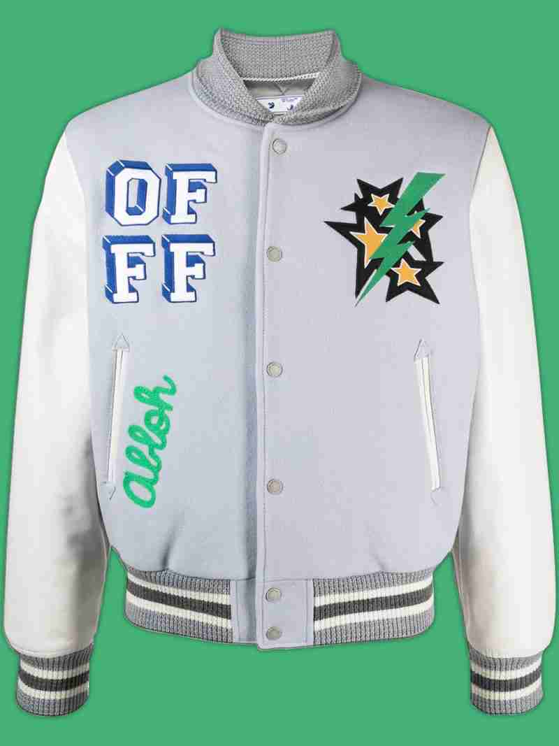 Lil Durk's printed white bomber jacket - front