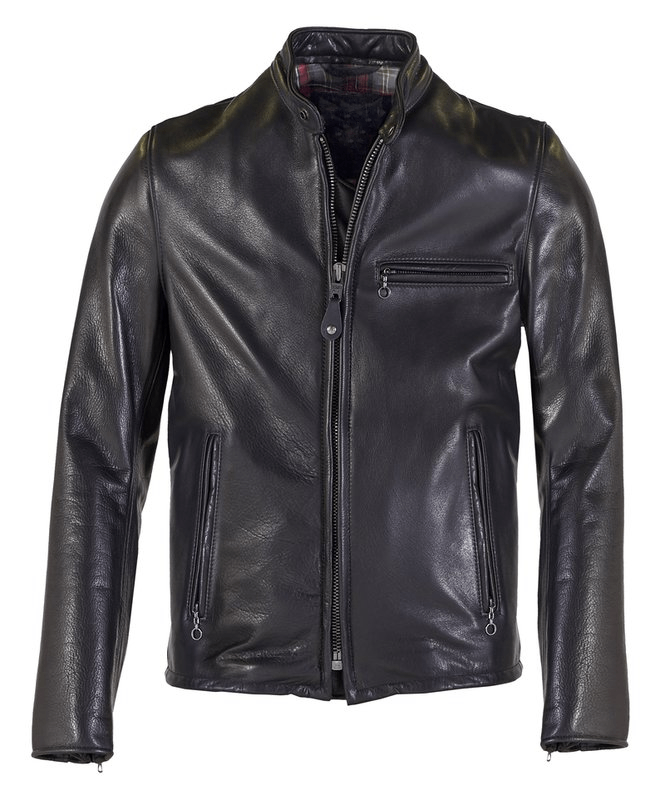 Black cafe racer waxed leather jacket for men