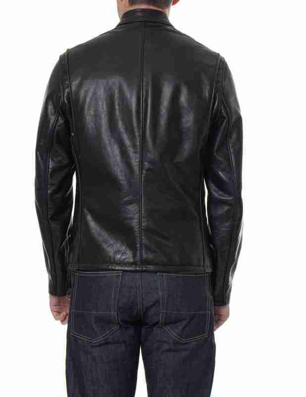 Back of black cafe racer waxed leather jacket
