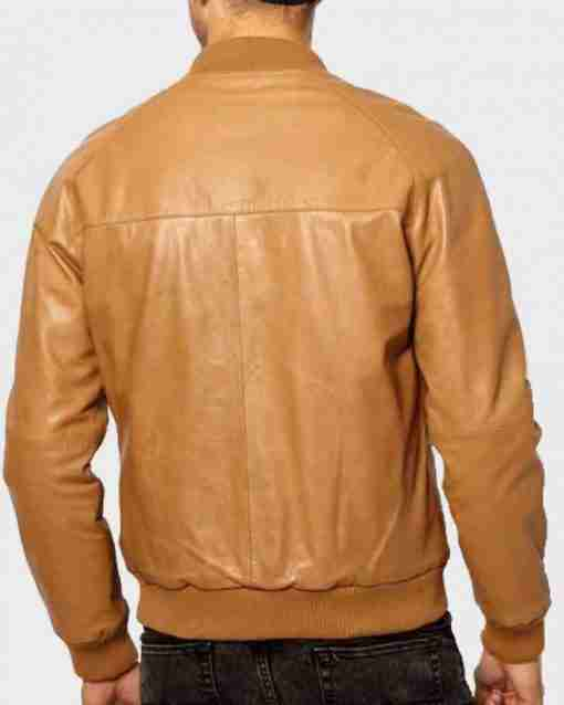Back side of casual men's tan-brown bomber leather jacket