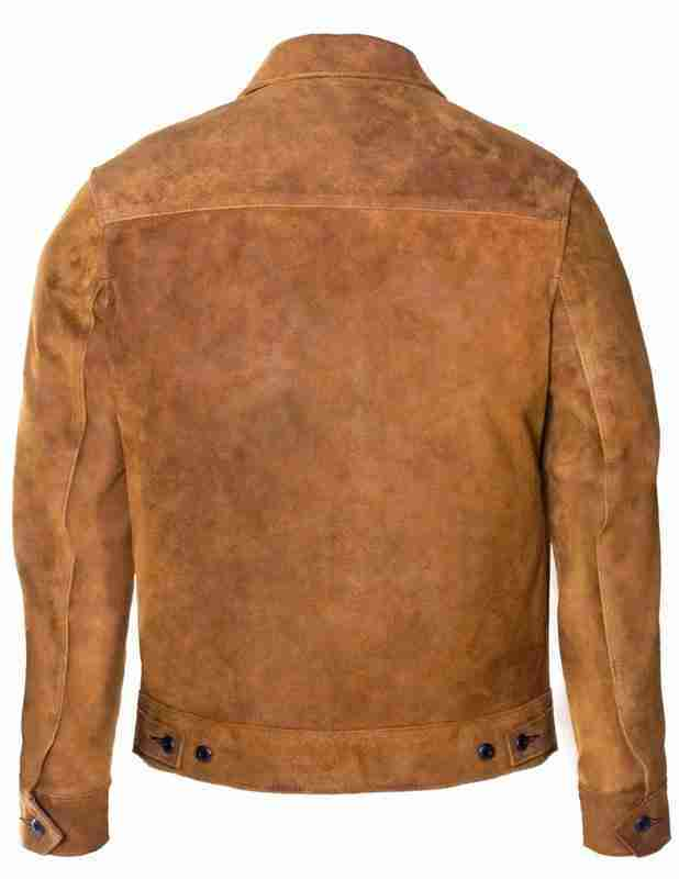 Unlined rough out men's brown suede jacket - back