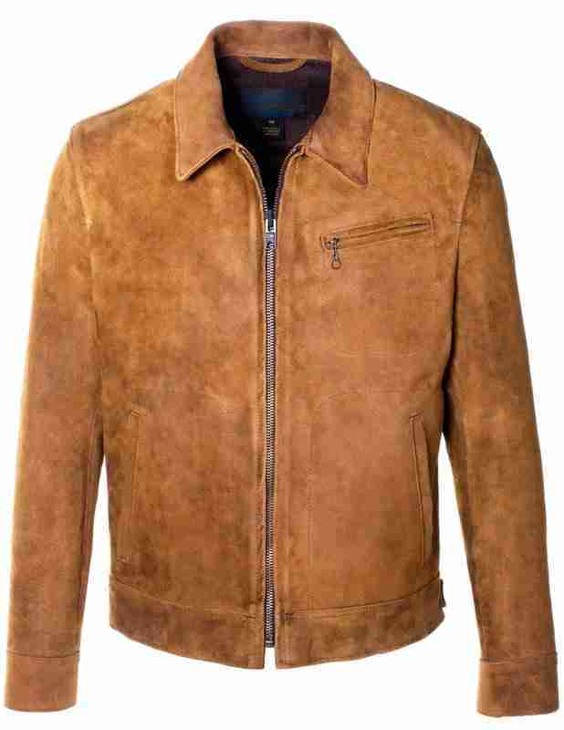 Men's unlined rough out suede leather jacket - front