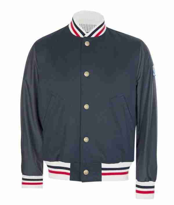 Reggi Mantle's striped grey bomber jacket - front