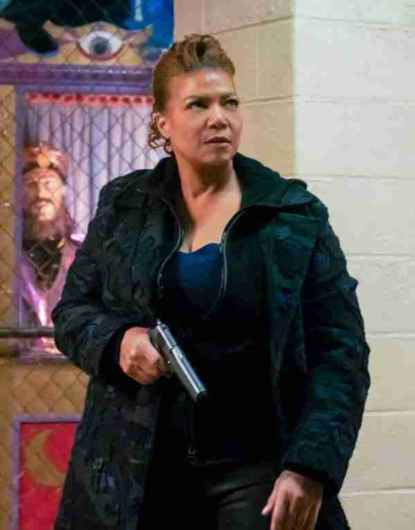 Queen Latifah as Robin McCall in The Equalizer 2021 in a camouflage cotton trench coat