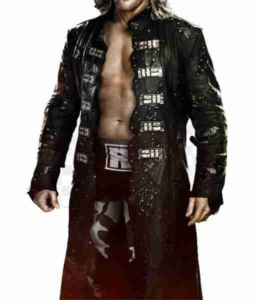 WWE wrestler The Edge's black leather long coat