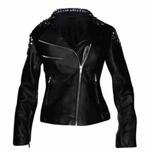 WWE Wrestler Paige's black studded biker leather jacket - front