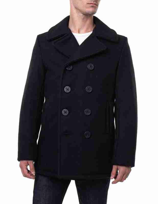 Men's classic melton wool pea coat in black - front