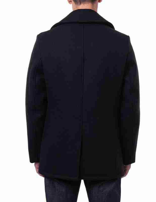 Back of classic men's melton wool black pea coat