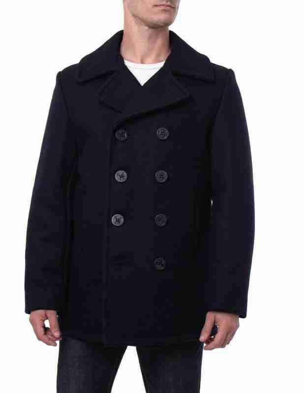 Blue melton wool classic pea coat for men - front