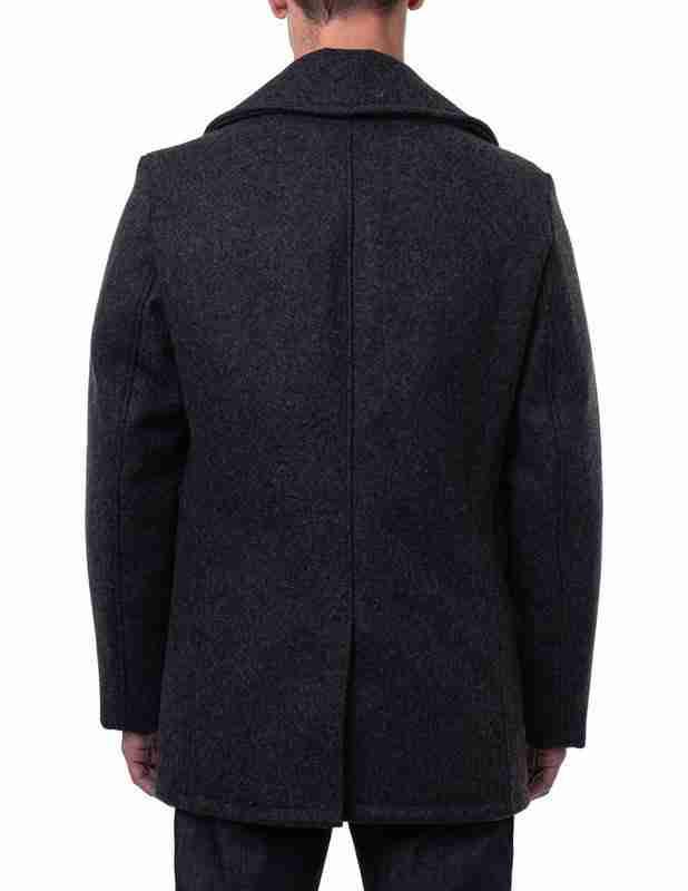 Back of classic men's melton wool dark grey pea coat