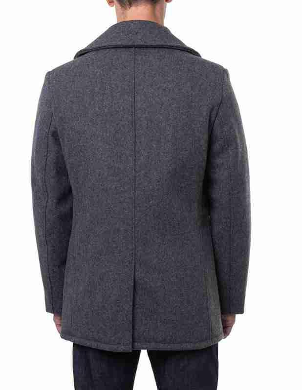 Classic melton wool men's grey pea coat - back