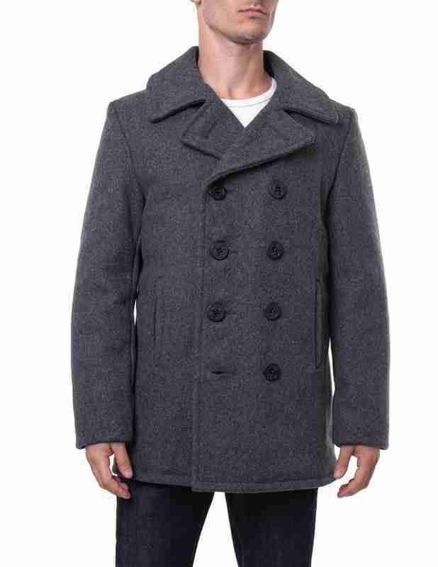 Men's classic melton wool grey pea coat - front