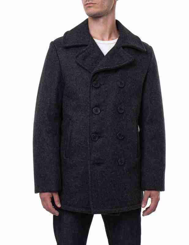 Classic melton wool black pea coat for men in dark grey - front