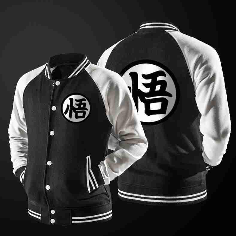 Black and white Goku Dragon Ball Z varsity jacket