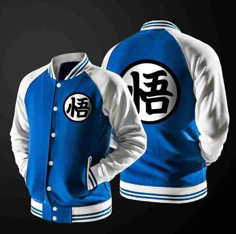 Dragon Ball Z blue and white Goku varsity jacket