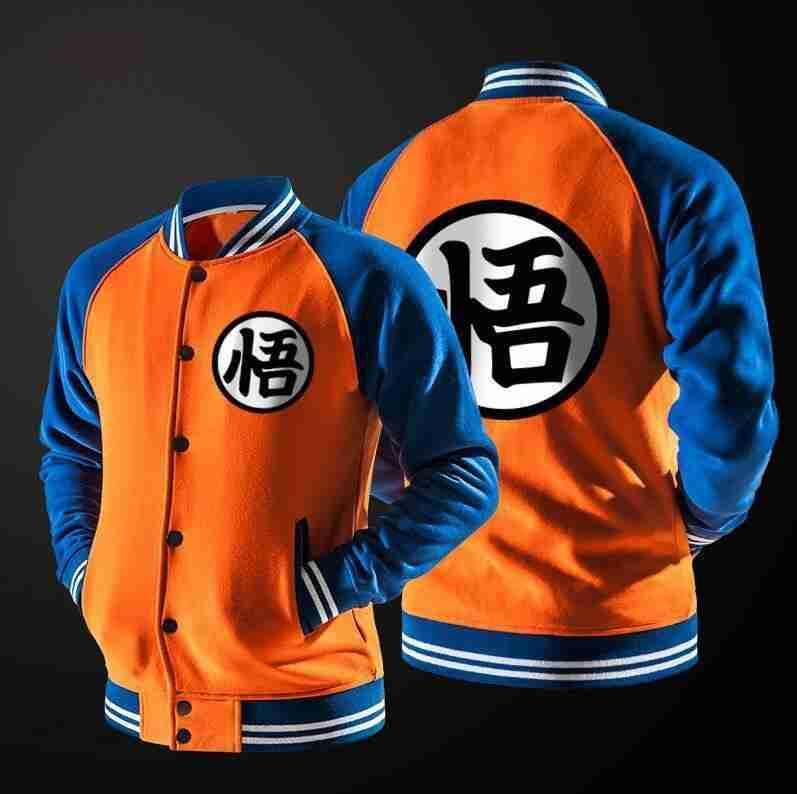 Dragon Ball Z Goku varsity jacket in orange and black color