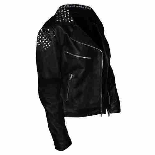 Black studded biker leather jacket of WWE wrestler Paige worn in NXT