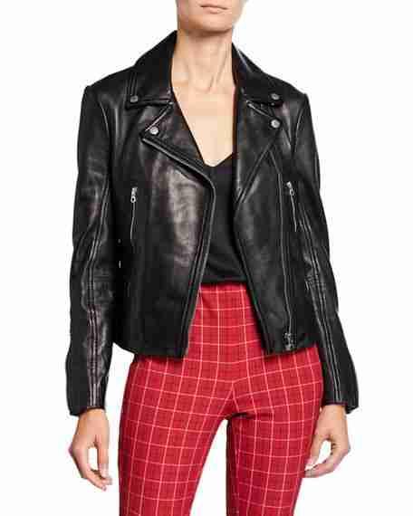 George Fayne black motorcycle leather jacket from Nancy Drew season 02 - opened front