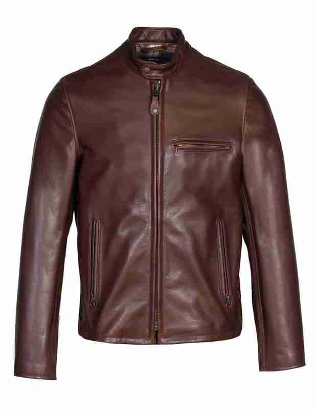Men's waxed leather brown cafe racer jacker - front