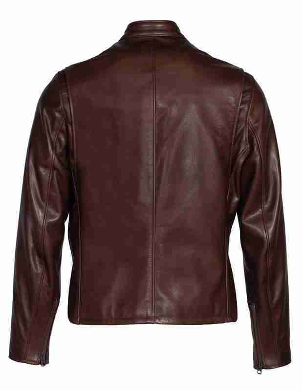 Back of cafe racer brown waxed leather jacket for men