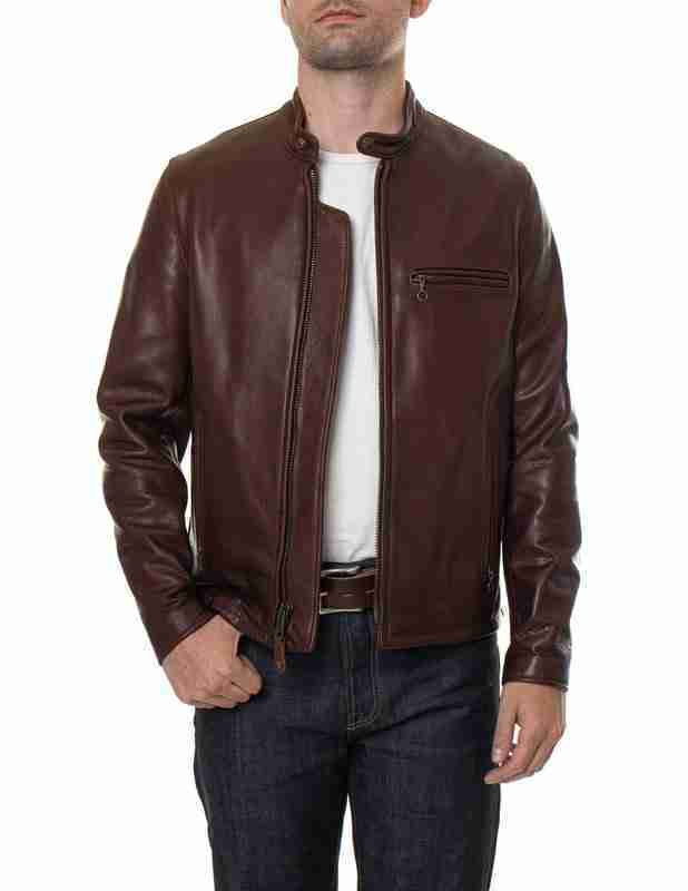 Cafe racer men's brown waxed leather jacket - model front