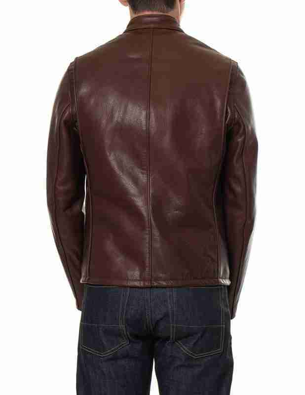 Brown cafe racer waxed leather jacket - model back
