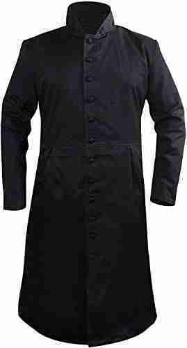 Keanu Reeves' (Neo) black cotton coat - closed front
