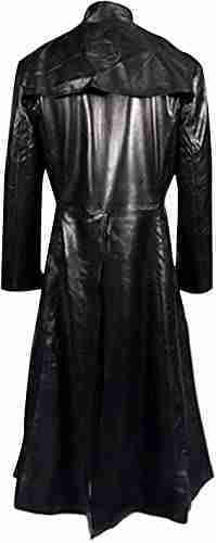 Back of Neo's leather black trench coat