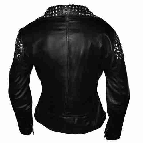 Back side of WWE wrestler Paige's black biker leather jacket with studs