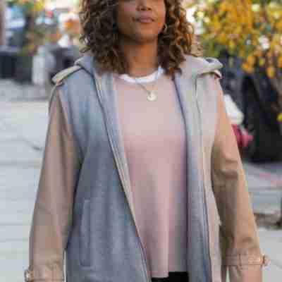 Queen Latifah in a beige tail coat on the set of The Equalizer (2021)