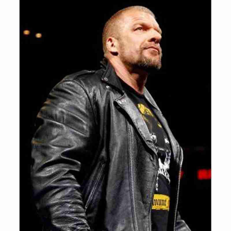 WWE superstar Triple H in a black motorcycle leather jacket