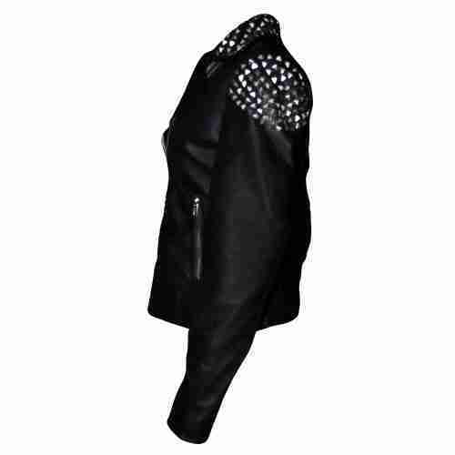 Side view of black studded leather biker jacket of WWE wrestler Paige