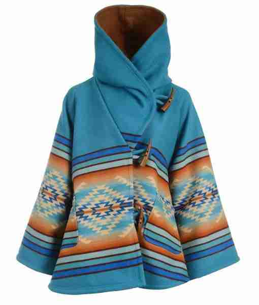 Beth Dutton's blue hooded poncho from Yellowstone Season 03 - front
