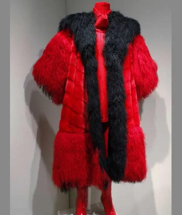 Cruella de Vil's red & black sheepskin fur coat from 101 Dalmatians - front