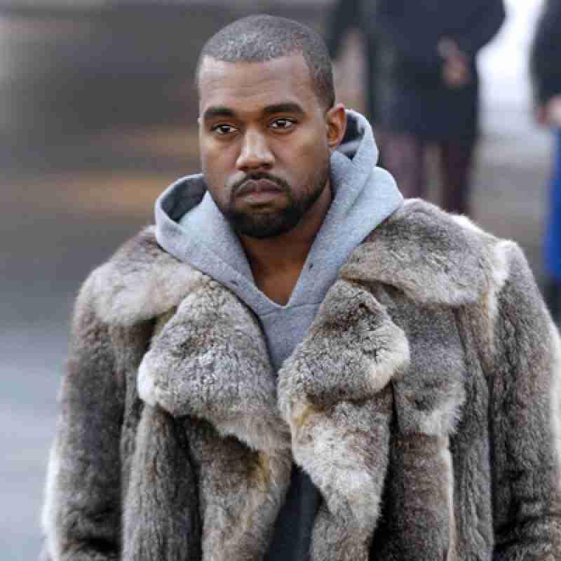 American Rapper Kanye West Faux Fur Brown Trench Coat For Men Front