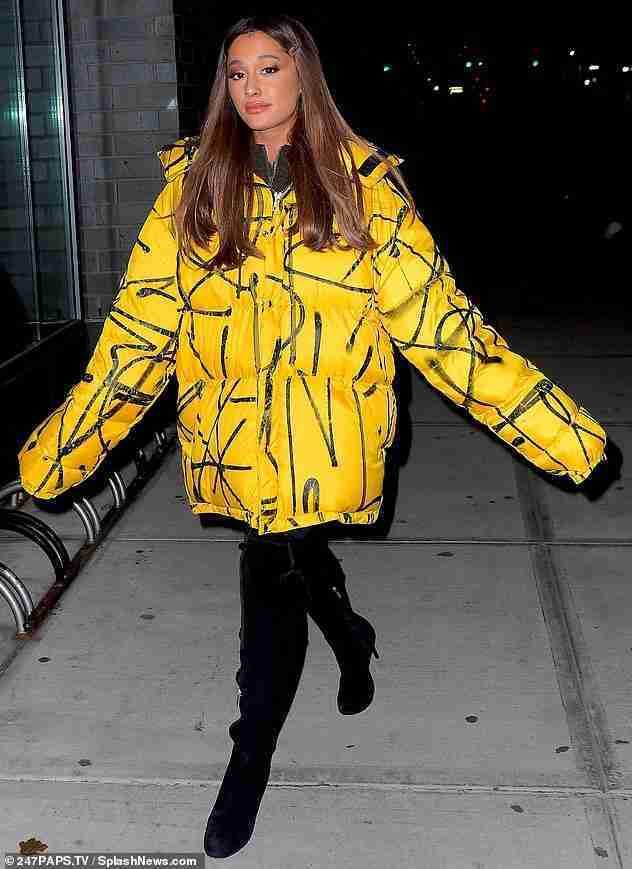 Ariana Grande in Oversized Yellow Puffer Jacket