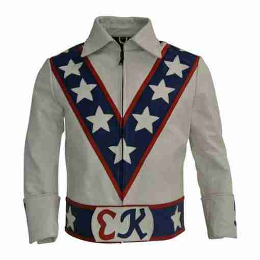 White motorcycle leather jacket of Dardevil Evel Knievel - front
