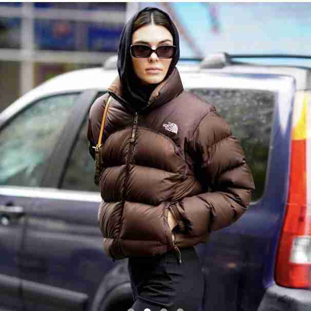 Kendall Nicole Jenner Brown Puffer Jacket