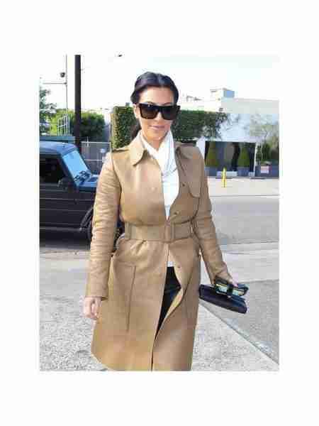 Kim Kardashian Long Leather Coat