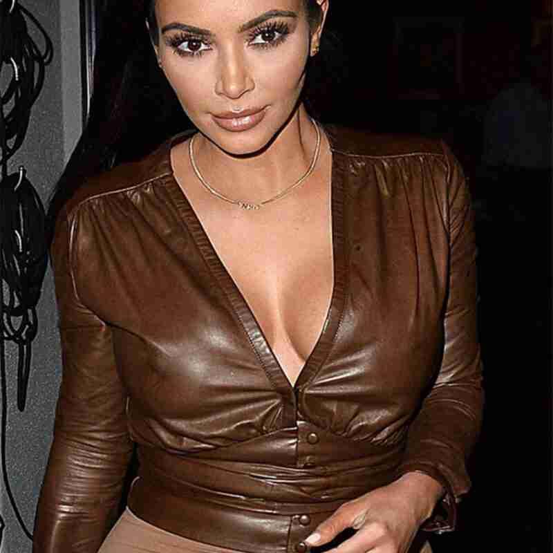 Kim Kardashian Modish Brown Leather Shirt