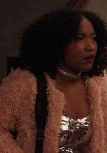 Laya DeLeon Hayes as Delilah in The Equalizer (2021) wearing a pink faux fur jacket