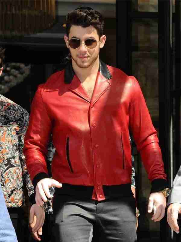 London Visit Nick Jonas Red Real Leather Jacket Front