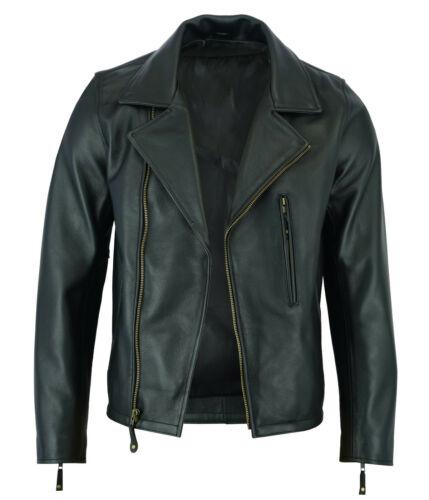 Men's classic vintage style biker leather jacket in black - front